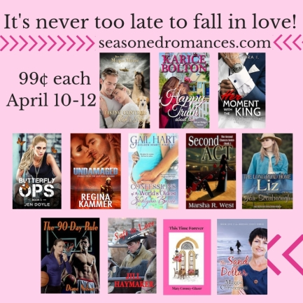 Call it Seasoned Romance. Call it Mature Romance. Either way, these books are 99¢ December 7-9.